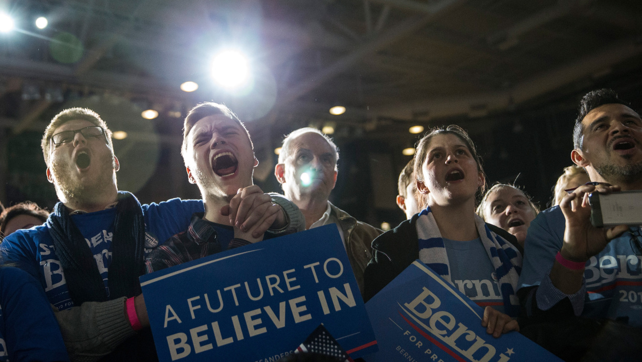 Des jeunes supporters de Bernie Sanders lors d'un meeting à l'University du New Hampshire, le 8 février 2016.