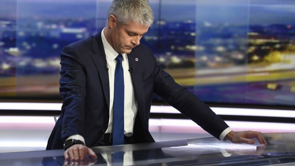 Newly elected president of Les Republicains (LR) right-wing party, Laurent Wauquiez reacts before filming the Le Journal de 20h (The 20h Journal) program on TF1 television on December 11, 2017 in Paris.  Lionel BONAVENTURE / AFP