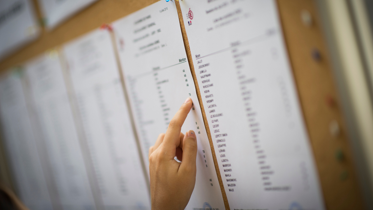 A student views the results of the baccalaureat exam (high school graduation exam) on July 7, 2015 at the Georges Brassens secondary school in Paris