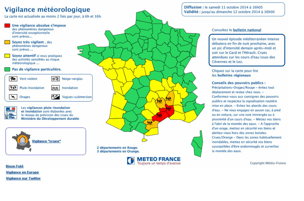 Intempéries: le Gard rétrogradé en vigilance orange, le Var placé en vigilance orange