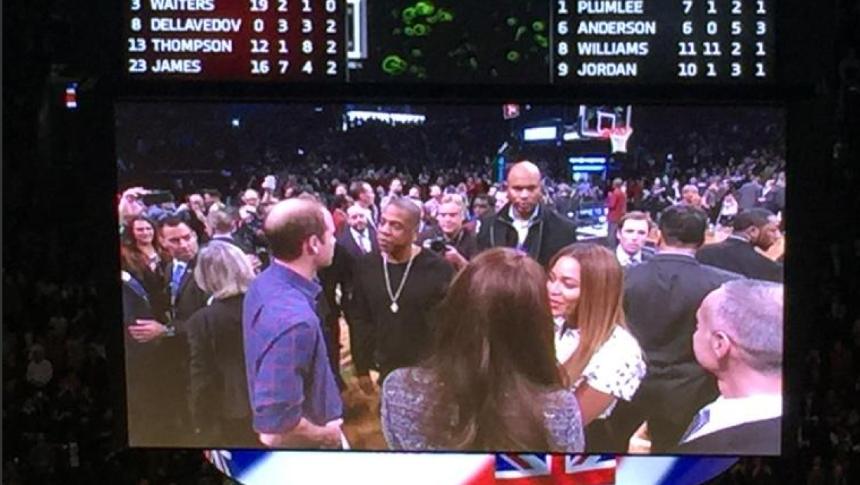 William et Kate rencontrent Jay Z et Beyoncé en marge d'un match de NBA.