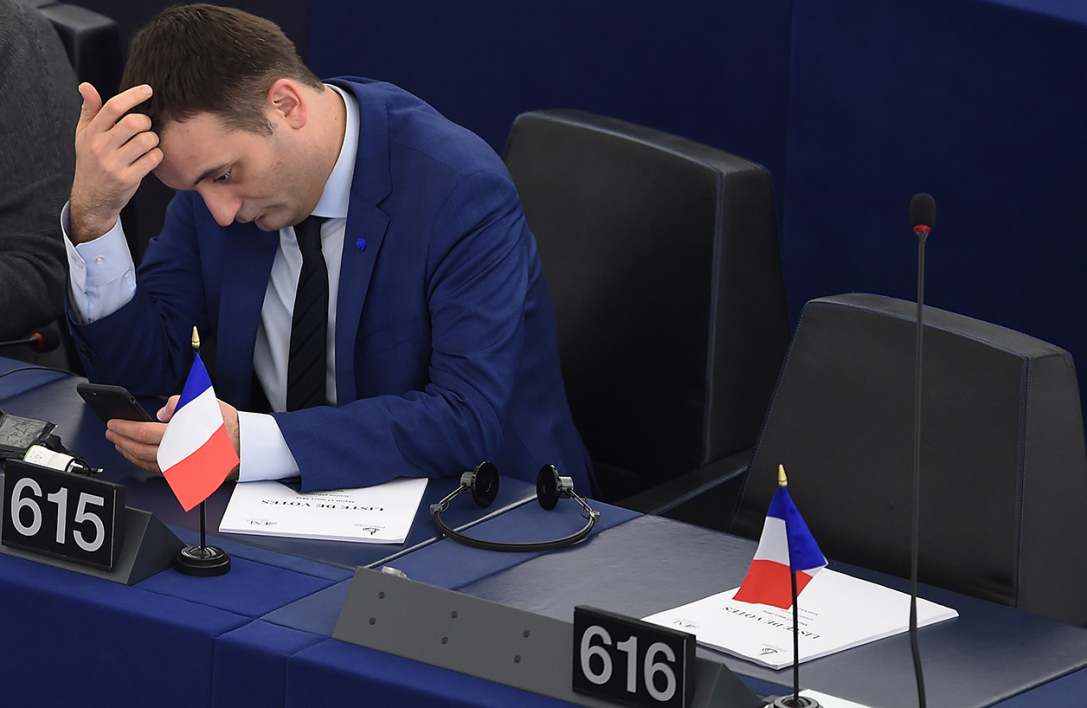 French far-right Front National (FN) party Vice-President Florian Philippot and member of the European Parliament takes part in a voting session at the European Parliament in Strasbourg, eastern France, on March 14, 2017.