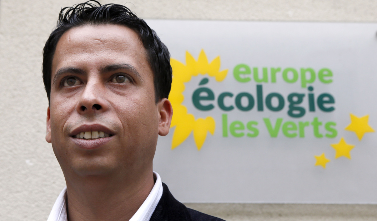 Mounir Satouri, newly-elected President of the Europe-Ecology-Greens party (EELV) group at the Ile-de-France Regional Council, poses on July 9, 2012 in Paris. Satouri was elected on July 2, 2012 to take over from Cecile Duflot, former EELV national secretary and currently France's Minister for Equality of Territories and Housing