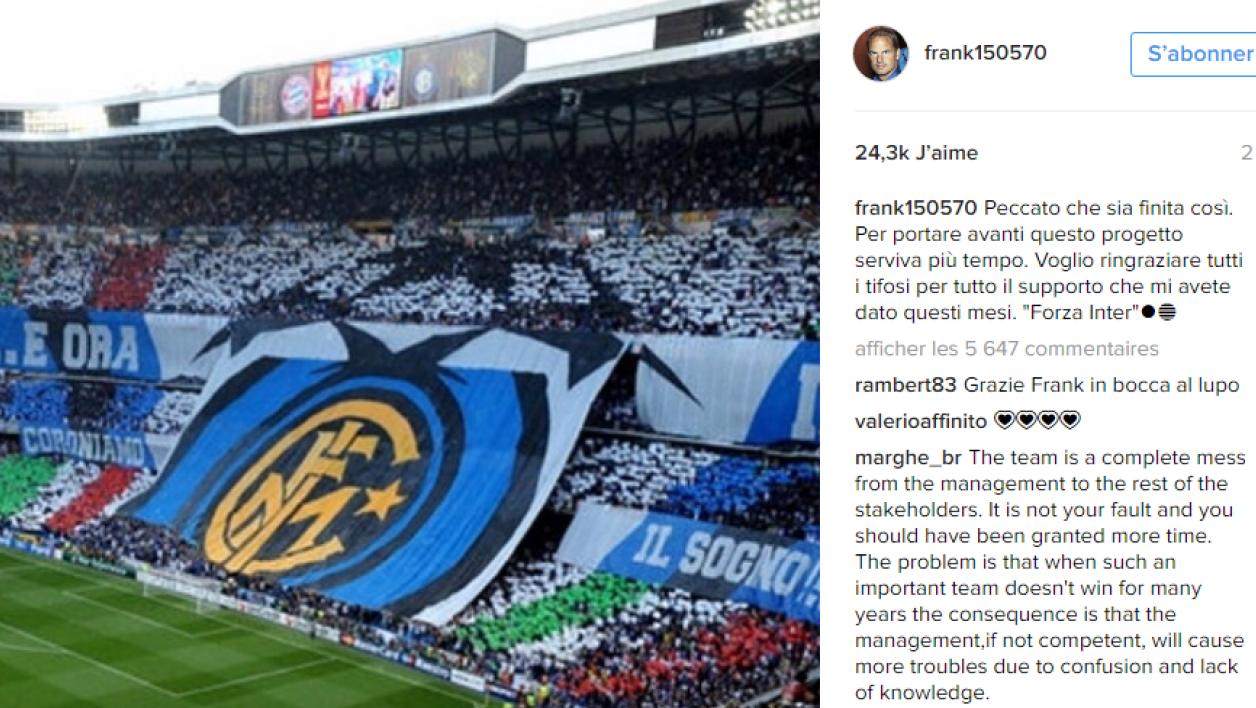 Capture écran du message de Frank de Boer sur Instagram.