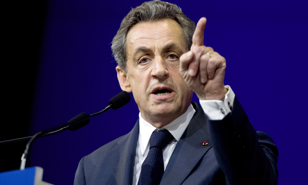 Head of the French right-wing opposition UMP party, Nicolas Sarkozy delivers a speech during a UMP national council on Febrary 7, 2015 in Paris.
