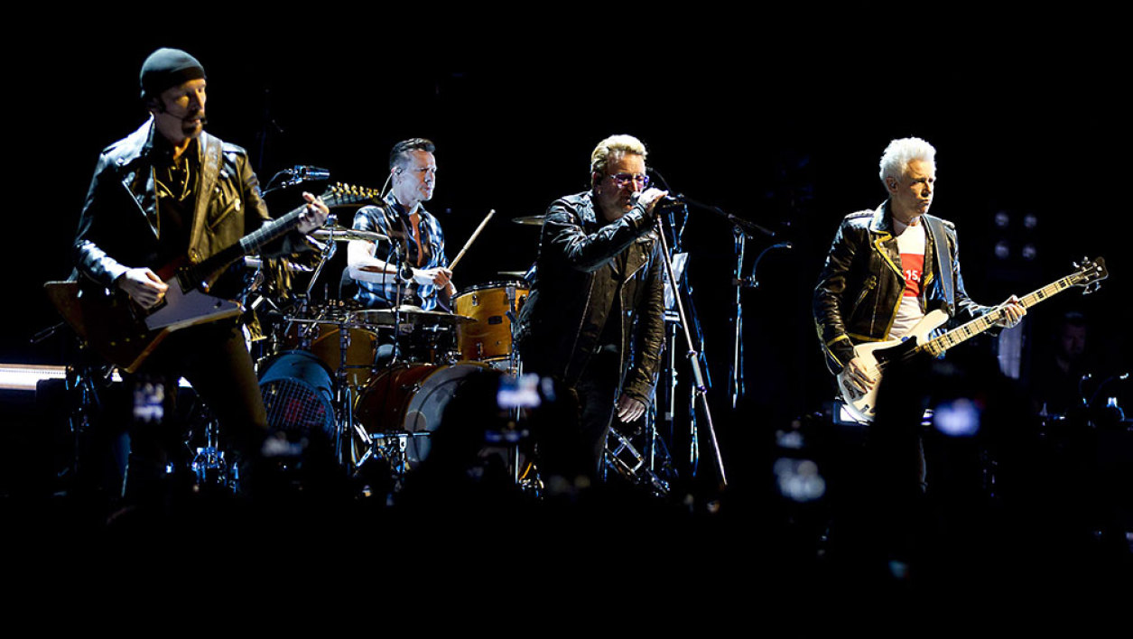 """Irish band U2 perform at the Ziggo Dome in Amsterdam on September 8, 2015, part of their """"iNNOCENCE + eXPERIENCE"""" Tour 2015"""