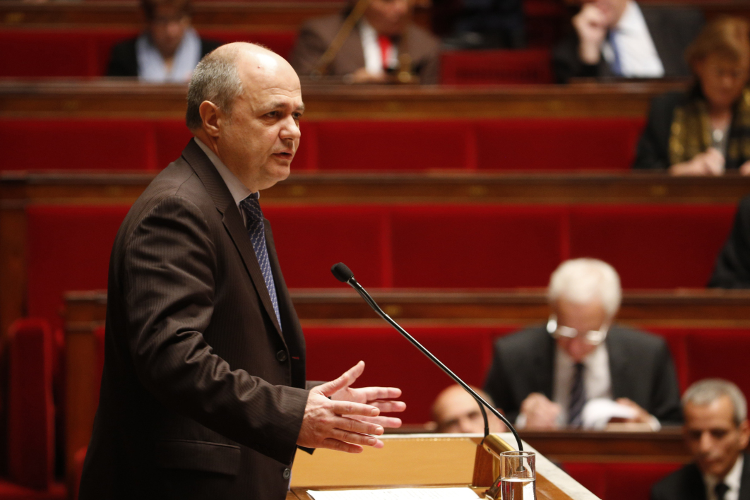 Bruno Le Roux, president of the Socialist group at the National Assembly, addresses French lawmakers during a debate on a measure that would extend a state of emergency declared by the French president until the end of February, at the National Assembly in Paris on November 19, 2015. A state of emergency was declared across the country after the terrorist attacks of November 13 that left 129 people dead and 350 injured