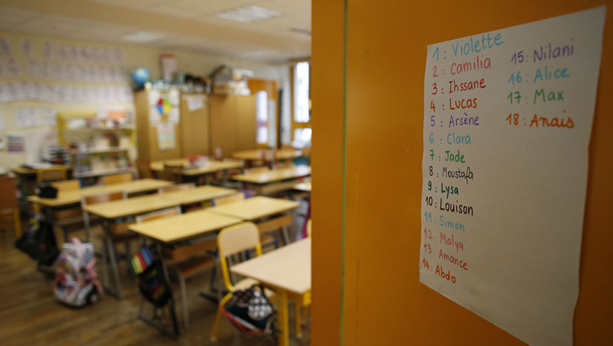 An elementary school classroom is pictured on October 12, 2015 in Paris.