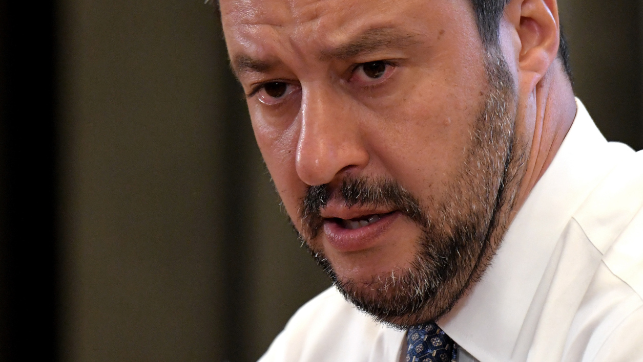 Italy's Interior Minister and Deputy Prime Minister Matteo Salvini speaks during a press conference in Rome, on June 25, 2018. Salvini said the Lifeline rescue ship which belongs to German NGO Lifeline and which is currently stranded in Maltese waters with more than 200 migrants on board will not be allowed to dock in Italy. TIZIANA FABI / AFP