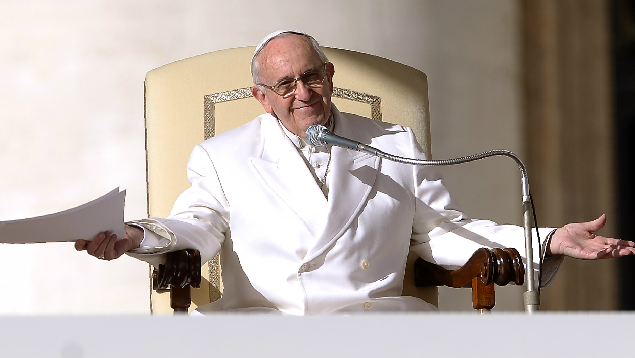 Pope Francis gives his weekly general audience on February 10, 2016 at St Peter's square in Vatican. Pape François