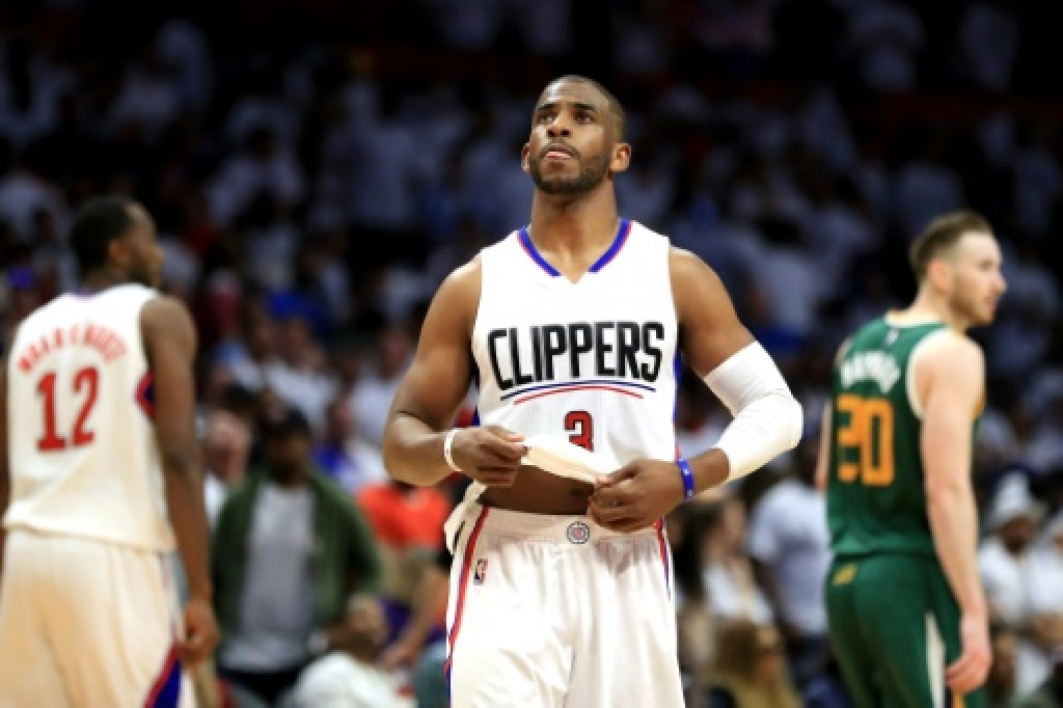 Le meneur vedette des Los Angeles Clippers Chris Paul face à Utah Jazz en NBA, le 30 avril 2017 à Los Angeles