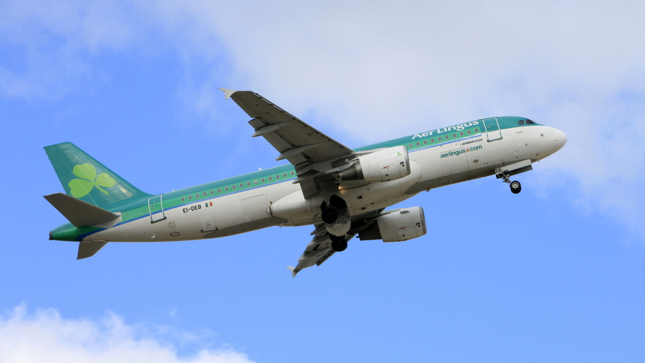 Un avion de la compagnie Aer Lingus décolle de Dublin, en mars 2010. (photo d'illustration)
