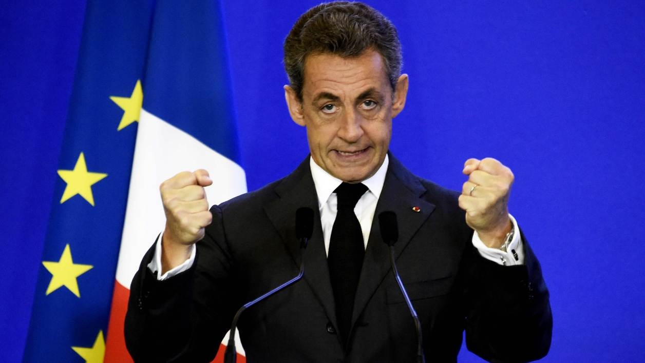 Nicolas Sarkozy, former French president and president of the right-wing Les Republicains (LR) party, delivers a speech during a ceremony of welcome for new LR supporters, in the French capital Paris, on January 9, 2016.