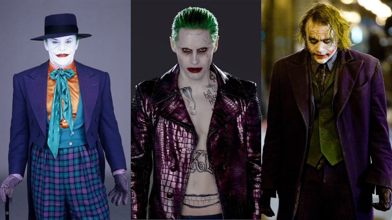 Le Joker incarné par Jack Nicholson Jared Leto et Heath Ledger.