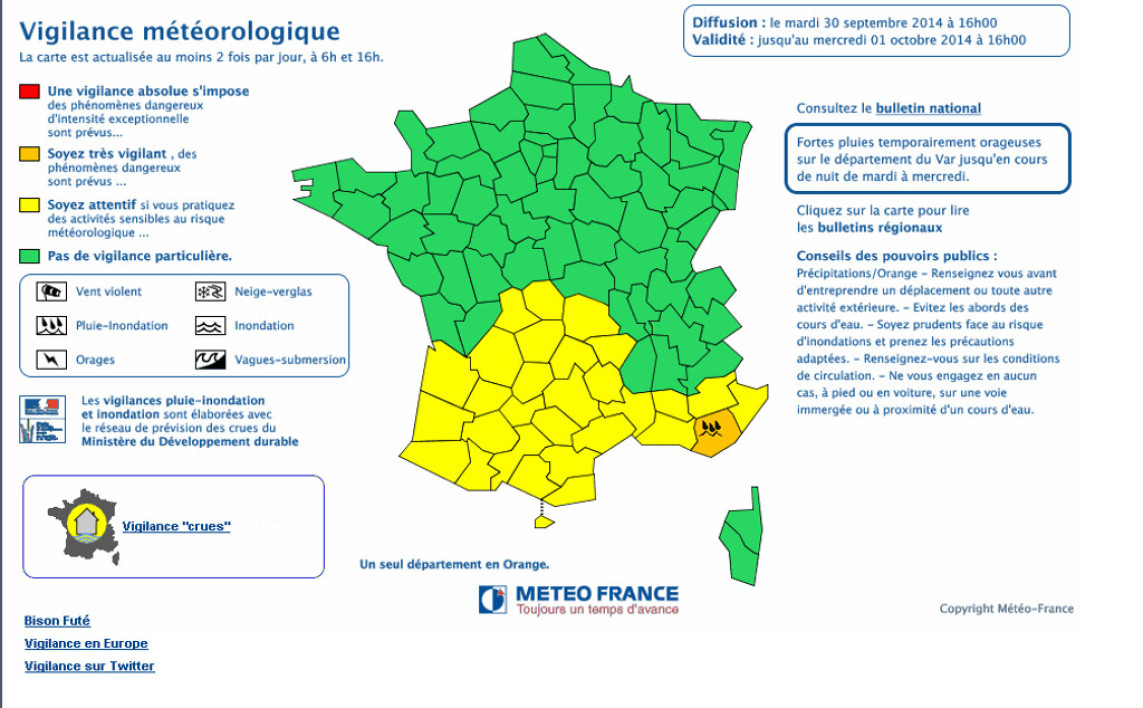 Météo France alerte orange