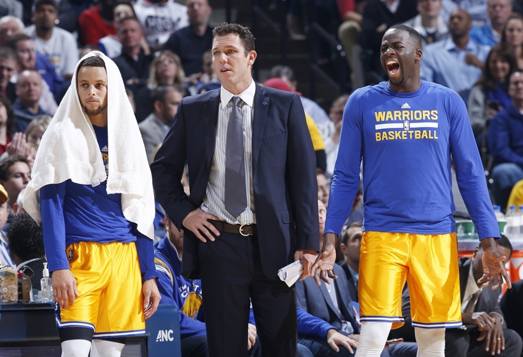 Steph Curry, Luke Walton et Draymond Green