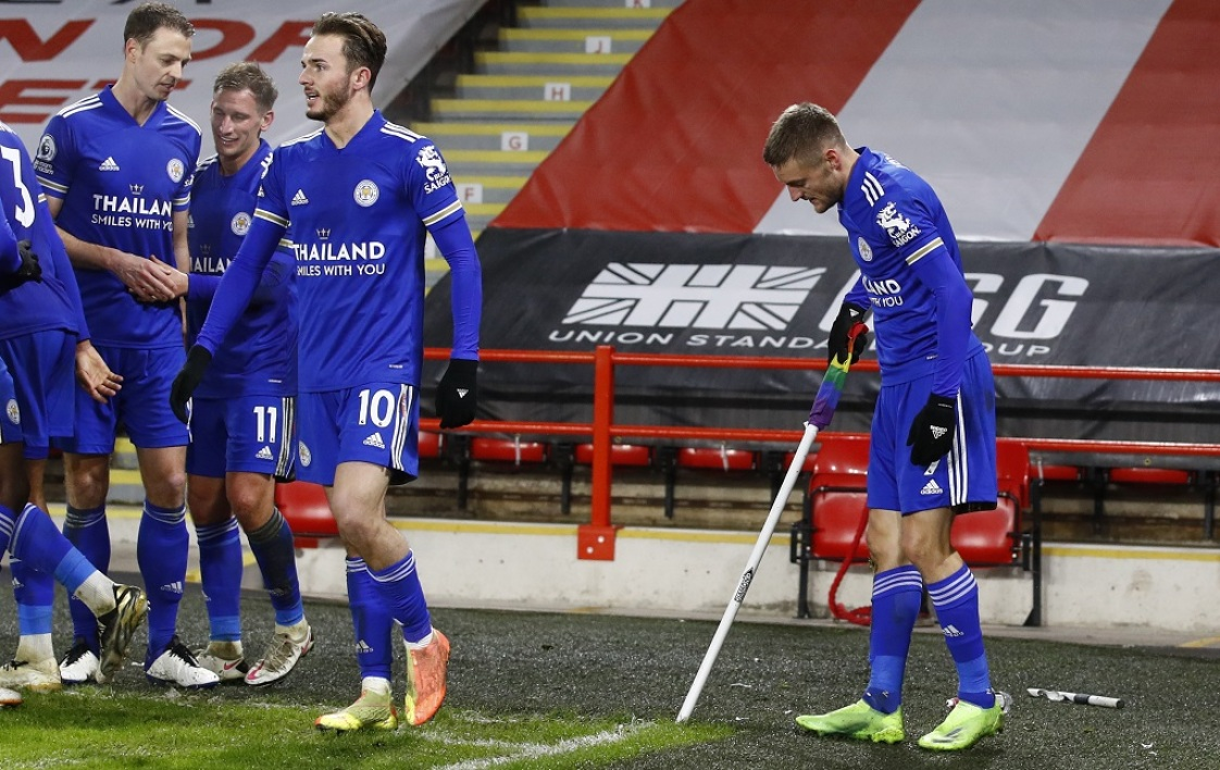 Vardy après son but contre Sheffield