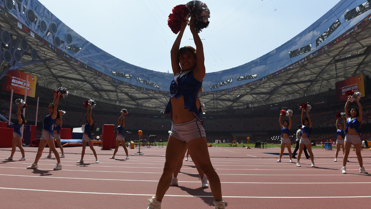 Les pom-pom girls en répétition au Stade national de Pékin
