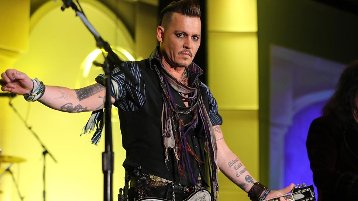 """Johnny Depp and Alice Cooper from The Hollywood Vampires perform at the 2016 Starkey Hearing Foundation """"So the World May Hear"""" awards gala at the St Paul RiverCentre on July 17, 2016 in St Paul, Minnesota."""