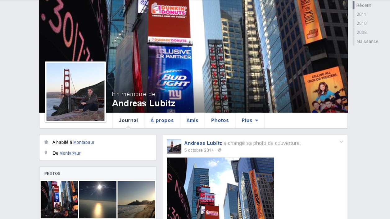 Page Facebook d'Andreas Lubitz. Quantité d'autres pages, usurpées, se sont créées après les révélations sur un possible crash volontaire du copilote de la Germanwings.