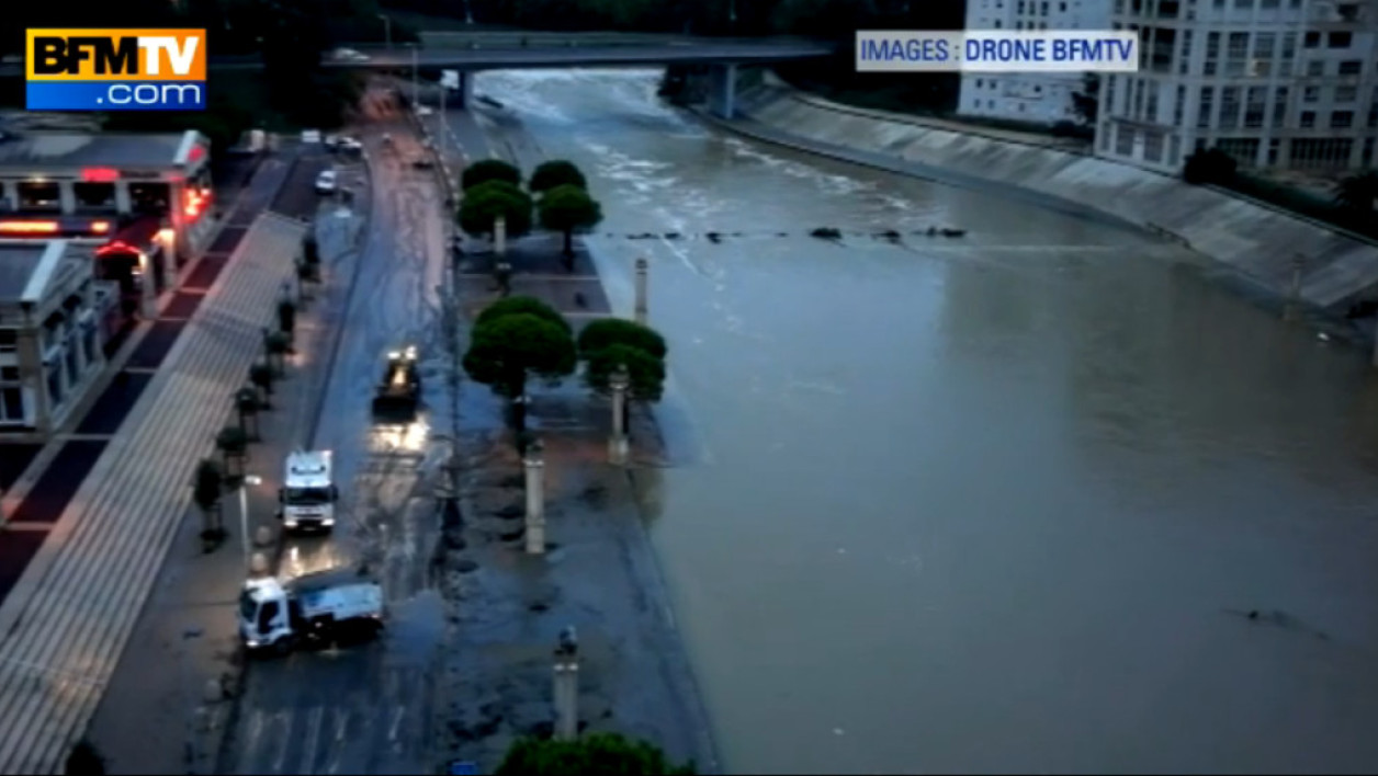 Montpellier inondations intempéries drone BFMTV