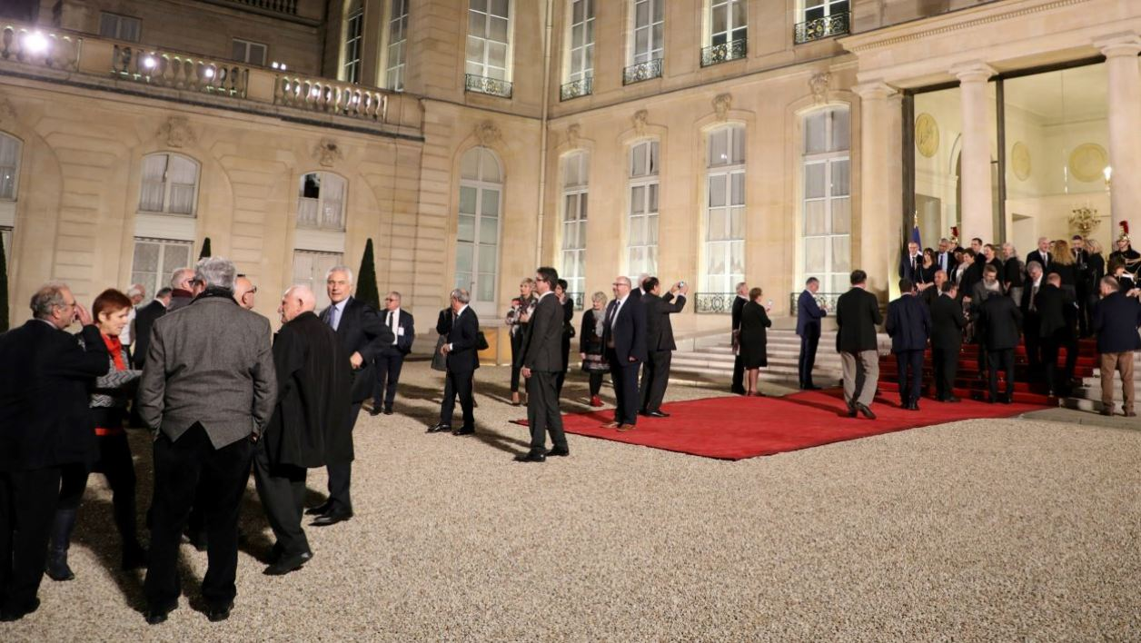 French Mayors arrive for an official reception with France's President at the Elysee Palace in Paris on November 22, 2017, on the occasion of the 100th Mayors Congress (Congres des Maires).  LUDOVIC MARIN / AFP