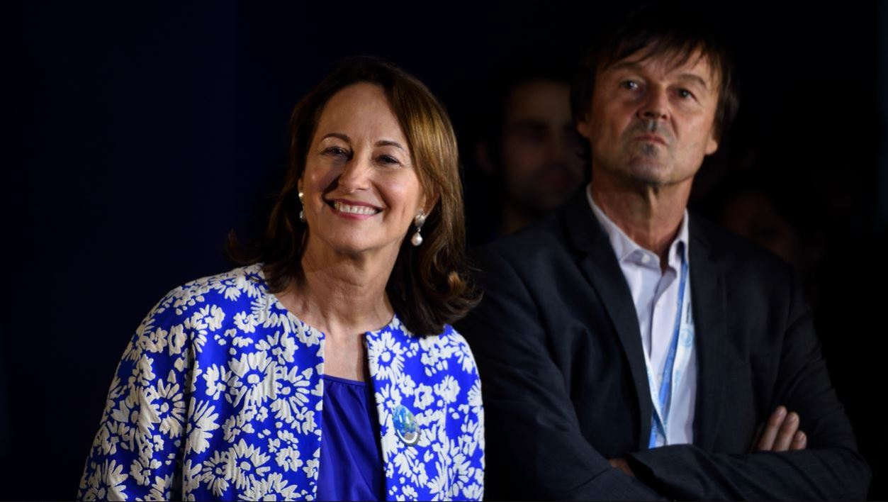 """French minister for Ecology, Sustainable Development and Energy Segolene Royal (L) and French environmental activist Nicolas Hulot attend the """"Climate Generations"""" event on December 1, 2015 as part of the World Climate Change Conference 2015 (COP21)."""