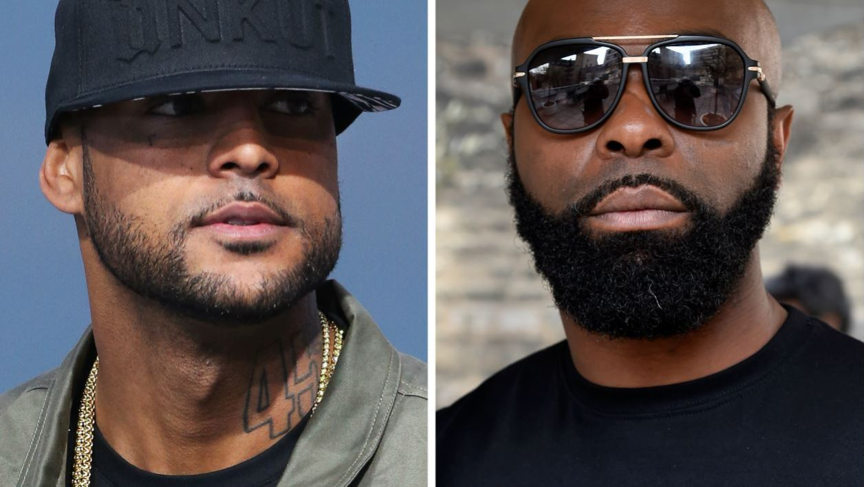 This combination of file photos made on August 1, 2018 shows French rapper Booba (L) on May 19, 2014, in Cannes, southern France, and French rapper Kaaris (R) on March 25, 2015, in Paris.