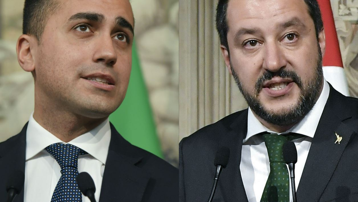 This combination of files pictures created on May 10, 2018 shows anti-establishment Five Star Movement (M5S) leader Luigi Di Maio (L) speaking to the press after a meeting with Italian President Sergio Mattarella on May 7, 2018 at the Quirinale palace in Rome.