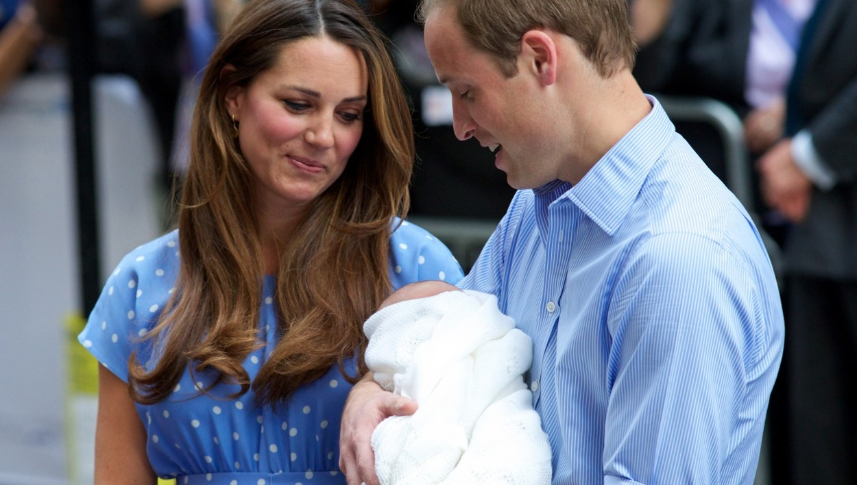Kate Middleton, le Prince William et le premier royal baby, George.