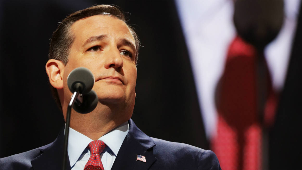 CLEVELAND, OH - JULY 20: Sen. Ted Cruz (R-TX) pauses while delivering a speech on the third day of the Republican National Convention on July 20, 2016 at the Quicken Loans Arena in Cleveland, Ohio. Republican presidential candidate Donald Trump received the number of votes needed to