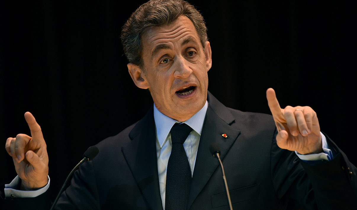Former French president and President of the right-wing Les Republicains (LR) party Nicolas Sarkozy addresses students during his visit to the Moscow State Institute of International Relations (MGIMO) in Moscow on October 29, 2015