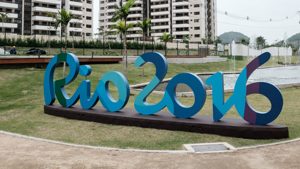 A logo of Rio 2016 is seen at the Olympic and Paralympic Village in Rio de Janeiro, Brazil, on June 23, 2016.  YASUYOSHI CHIBA / AFP