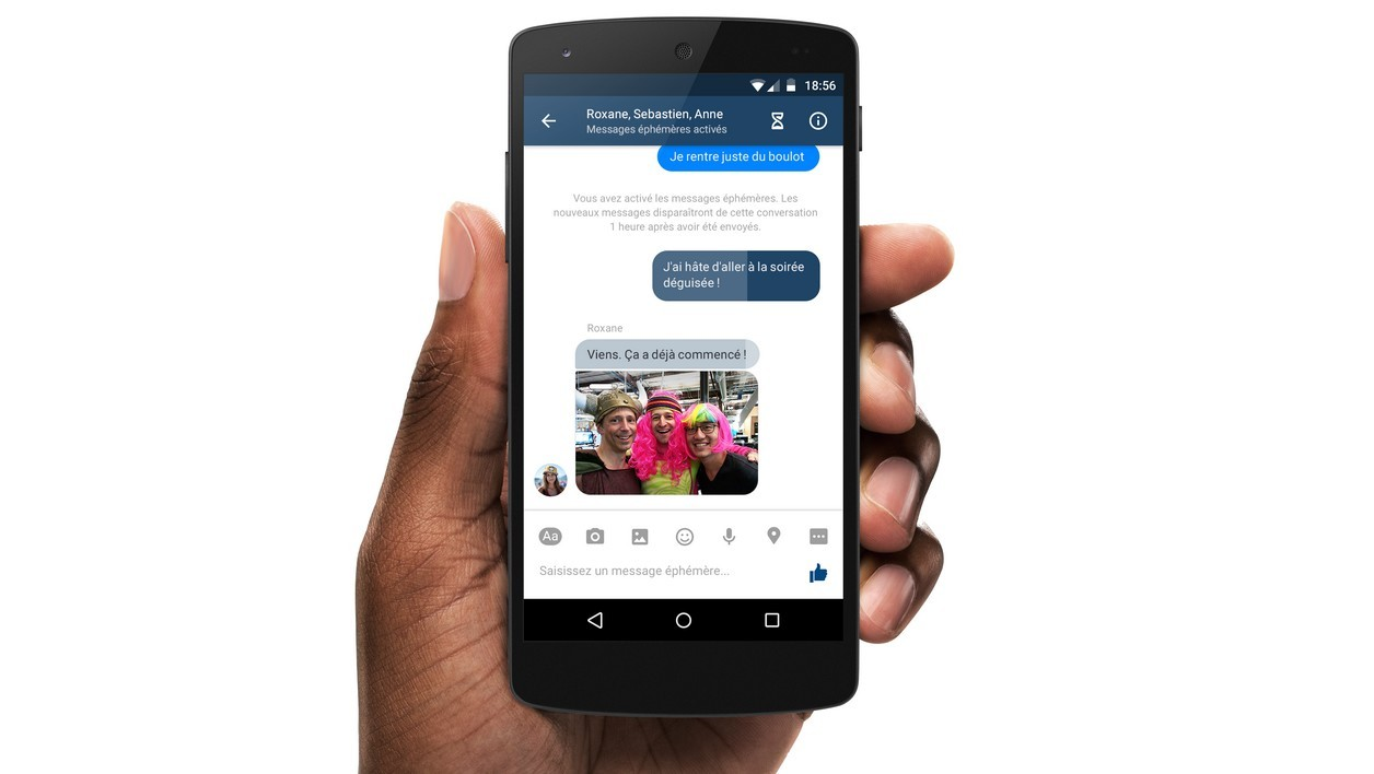 Facebook Messenger, messages éphémères