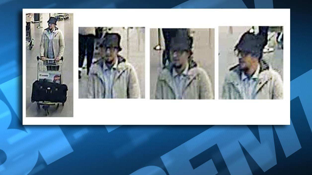 (MODIF) A picture released on March 22, 2016 by the belgian federal police on demand of the Federal prosecutor shows a screengrab of the airport CCTV camera showing suspects of this morning's attacks at Brussels Airport, in Zaventem.  Two explosions in the departure hall of Brussels Airport this morning took the lives of 14 people, 81 got injured. Government sources speak of a terrorist attack. The terrorist threat level has been heightened to four across the country. attentat belgique bruxelles el bakraoui salah abdeslam