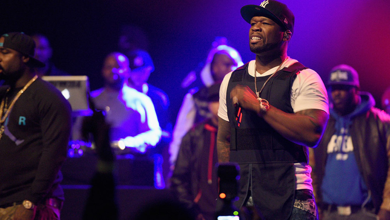 50 Cent performs onstage at the Power105.1 Breakfast Club Anniversary party presented by Verizon on December 17, 2015 in New York City.
