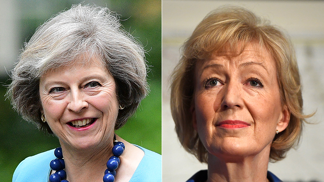 (COMBO) (FILES) In this combination of file pictures created on July 7, 2016, British Conservative Party leadership candidate Theresa May (L) arrives to attend a cabinet meeting at 10 Downing Street in central London on June 27, 2016 and British Conservative Party leadership candidate Andrea Leadsom (R) delivers a speech to launch her bid to become the Conservative party leader in London on July 4, 2016.