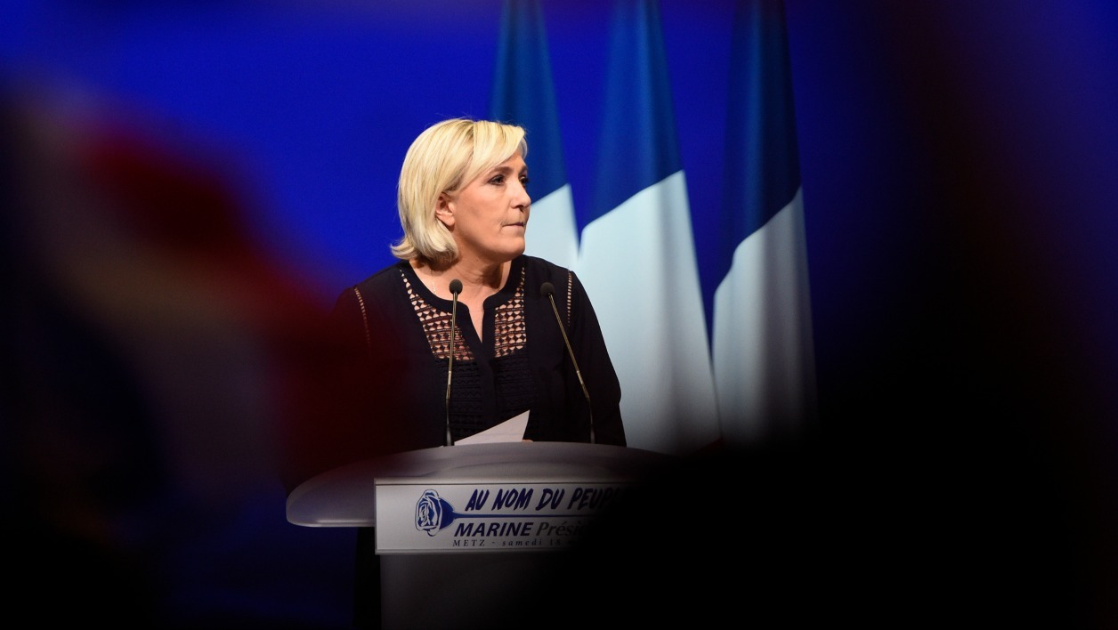 French far-right Front National (FN) party candidate for the presidential election Marine Le Pen looks on during a campaign rally on March 18, 2017 in Metz, eastern France.