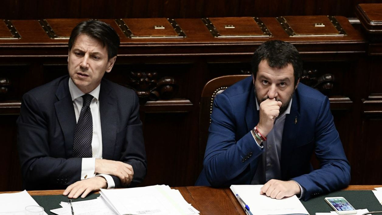 talian premier Giuseppe Conte (L) and Italy's Interior Minister and Deputy Prime Minister Matteo Salvini are seen at the Lower House, ahead of a confidence vote on the government program, in Rome on June 6, 2018. Conte is set to address the Lower House for a confidence vote on his government programme later today, after winning the confidence vote at the Senate yesterday. FILIPPO MONTEFORTE / AFP