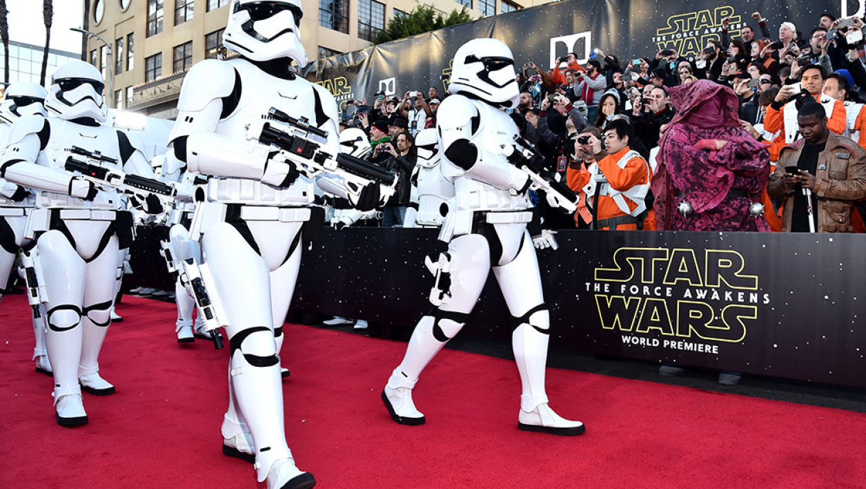 "HOLLYWOOD, CA - DECEMBER 14: Stormtroopers attend the World Premiere of ""Star Wars: The Force Awakens"" at the Dolby, El Capitan, and TCL Theatres on December 14, 2015 in Hollywood, California."