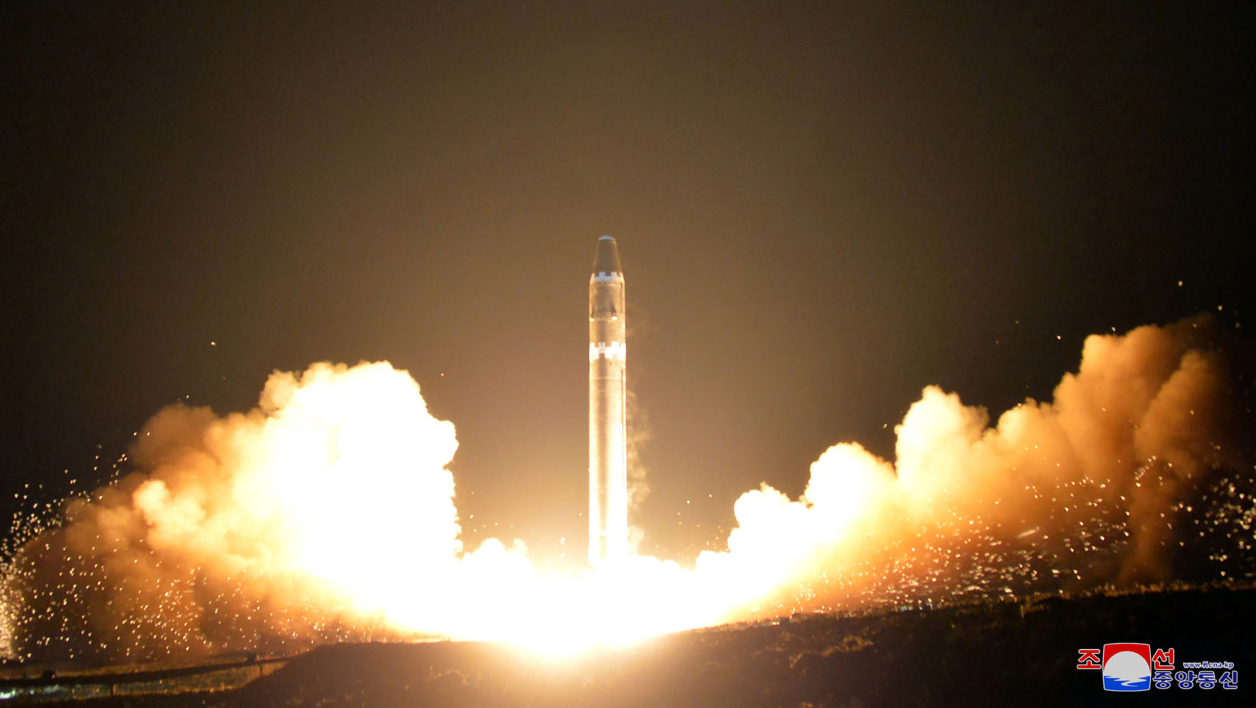This photo taken on November 29, 2017 and released on November 30, 2017 by North Korea's official Korean Central News Agency (KCNA) shows launching of the Hwasong-15 missile which is capable of reaching all parts of the US.