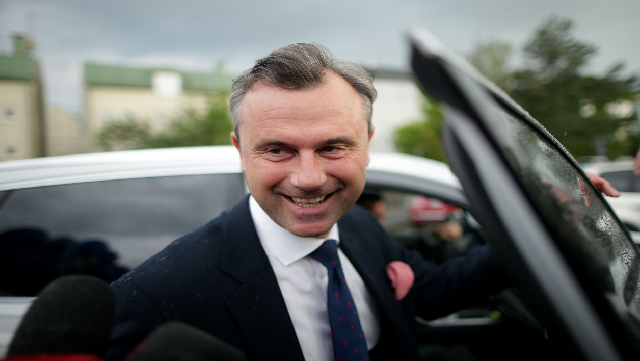 Norbert Hofer, candidate of the FPOe for the Austrian presidential election arrives for a TV debatte of the remaining canditates for the Austrian presidential election in Vienna, on May 19, 2016.