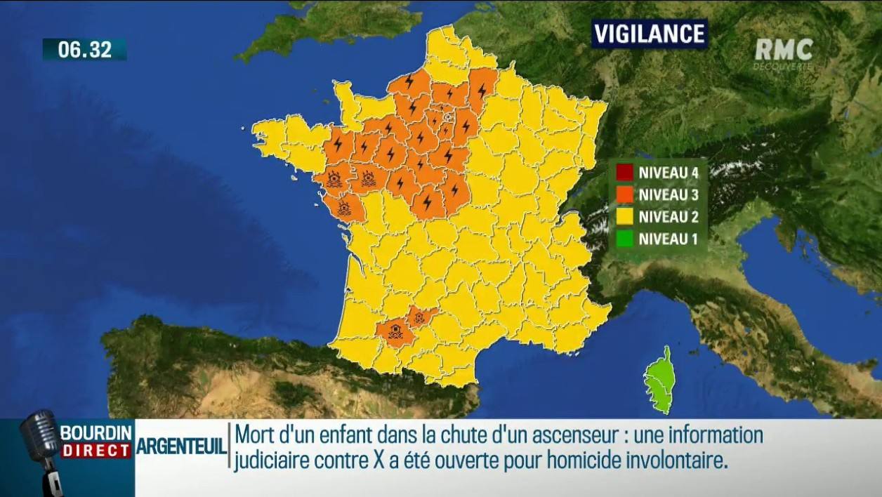 Orages: 25 départements en vigilance orange