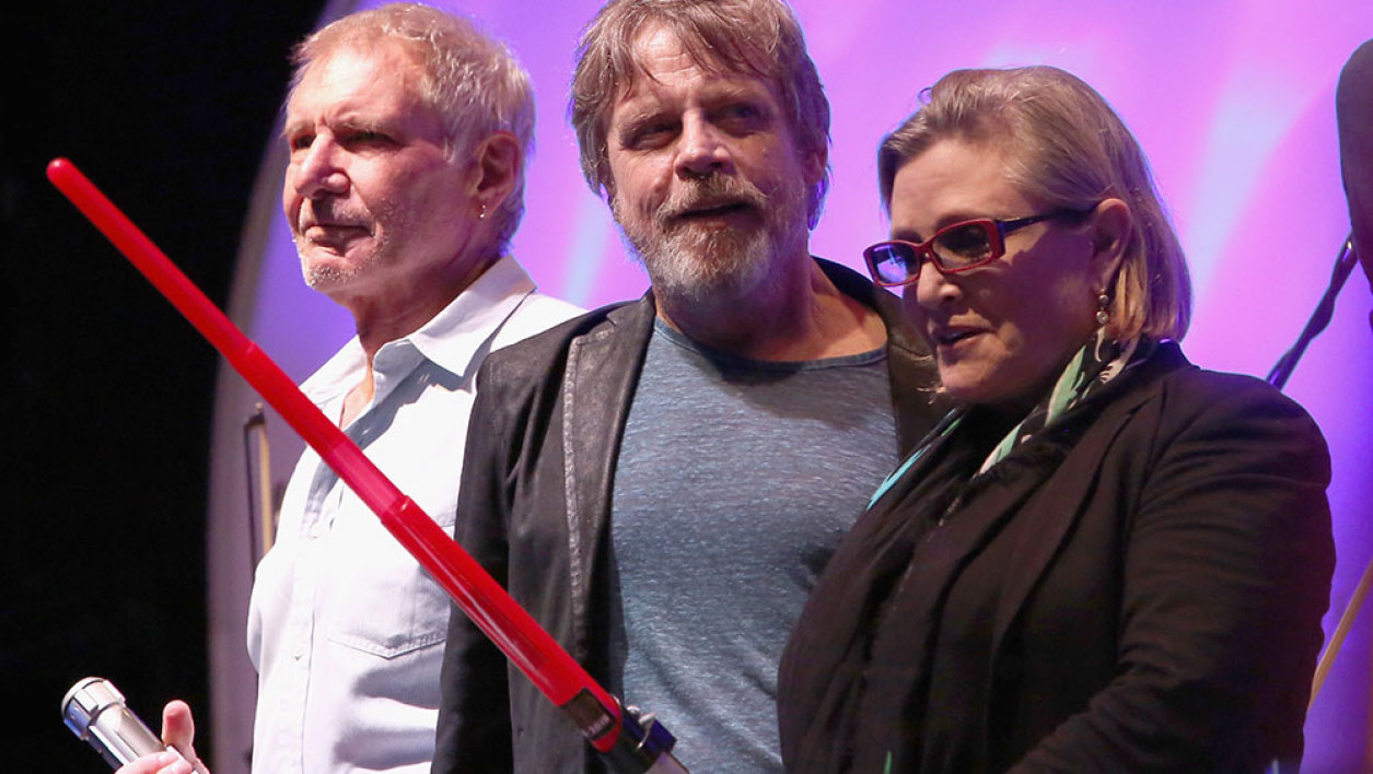 "Actors Harrison Ford, Mark Hamill, Carrie Fisher and more than 6000 fans enjoyed a surprise ""Star Wars"" Fan Concert performed by the San Diego Symphony, featuring the classic ""Star Wars"" music of composer John Williams, at the Embarcadero Marina Park South on July 10, 2015 in San Diego, California."
