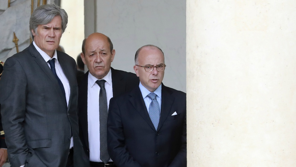 (From L) French Agriculture minister and Government spokesperson Stephane Le Foll, French Defence minister Jean-Yves Le Drian and French Interior Minister Bernard Cazeneuve stand after the cabinet meeting on August 3, 2016 at the Elysee Presidential Palace in Paris.  JACQUES DEMARTHON / AFP