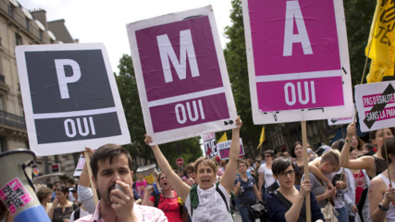 Des manifestants favorables à la PMA lors de la Gay Pride à Paris en 2013