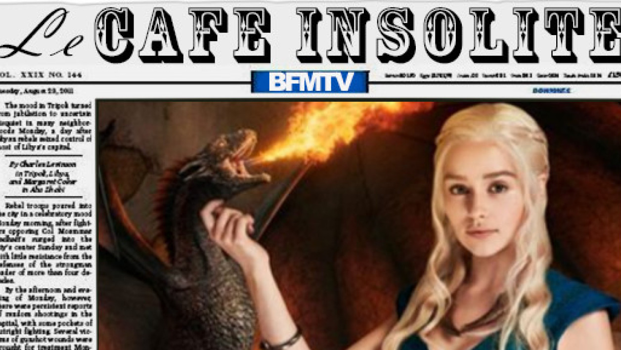"Emilia Clarke dans ""Game of Thrones"", gratouillant le menton de son dragon."
