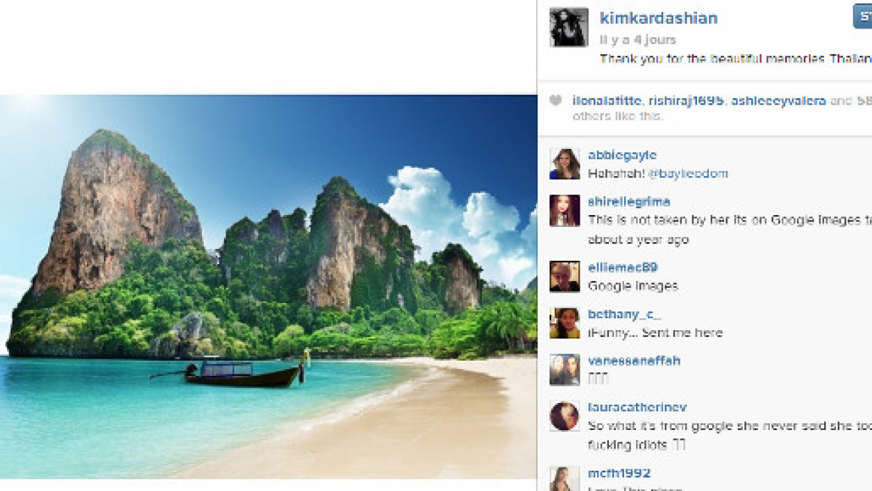 "Le post de Kim Kardashian sur Intagram et sa ""photo-souvenir""."