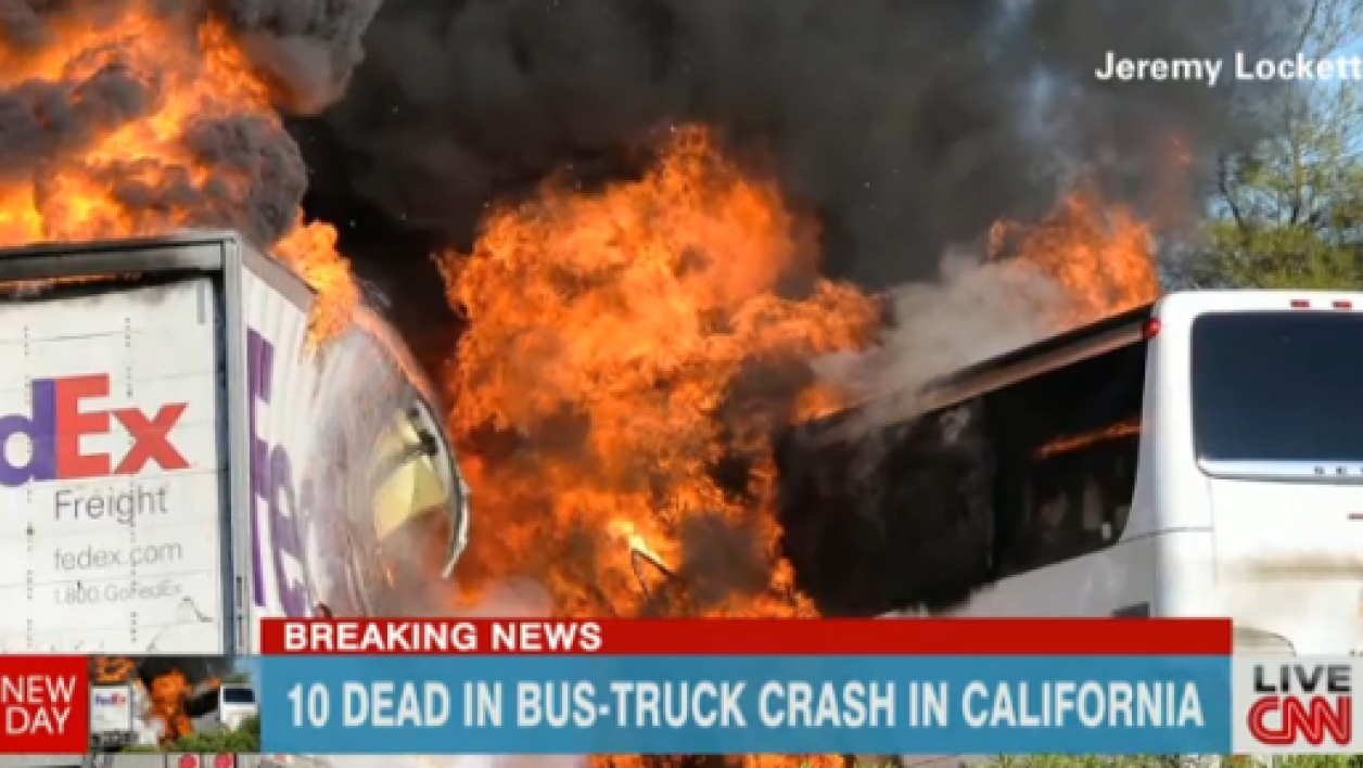 L'accident spectaculaire, retransmis par CNN aux Etats-Unis.