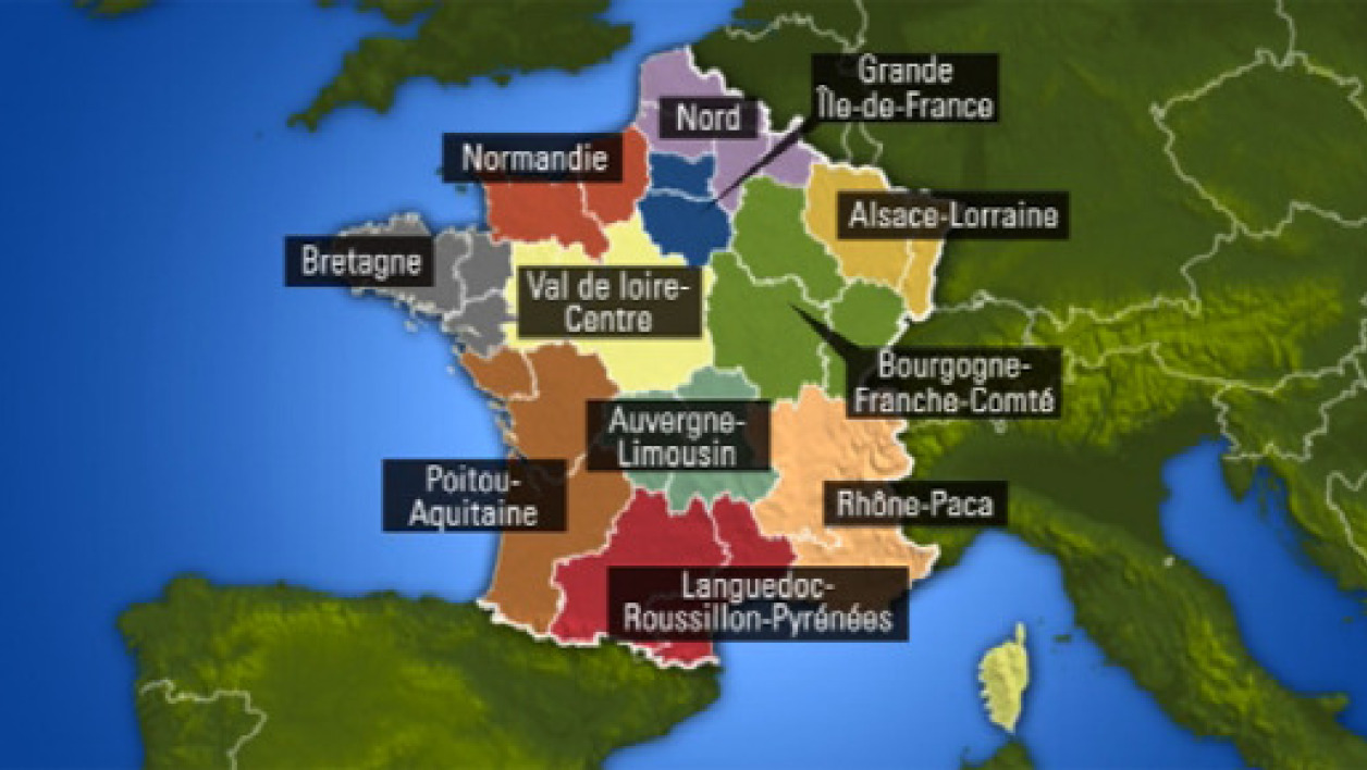 La carte possible des régions de France réeunies.